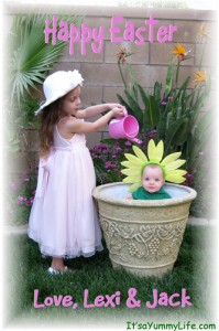 lexi watering Jack Happy Easter