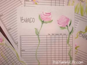 bunco sheet upclose